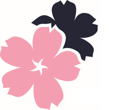 Pink and blue flower logo